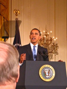 President Obama speaks about the new Office of Social Innovation (that's advisor David Gergen's head in the foreground)